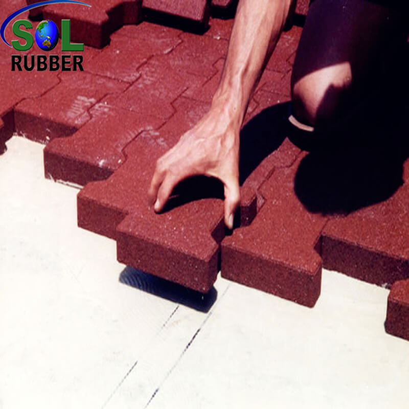 High Density Interlock Horse Bran Rubber Floor Paver