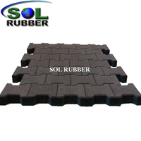 "1 3/4"" Thickness Black Rubber Paver for Horse"