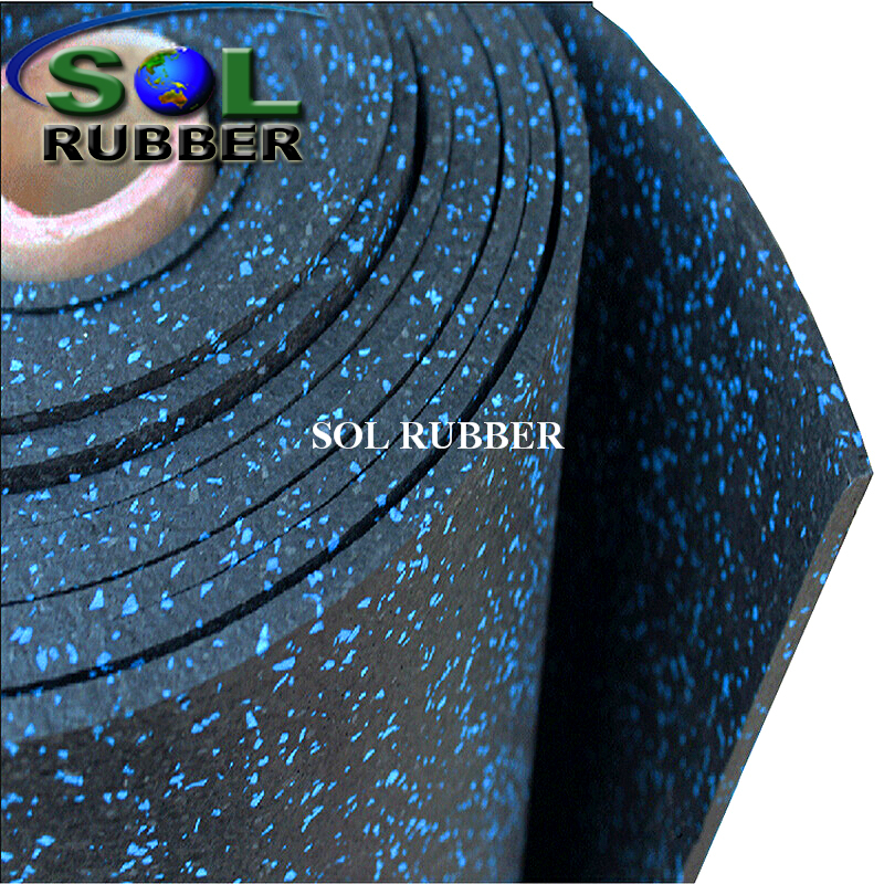 SOL RUBBER EPDM gym rubber flooring roll fine SBR granules mixed with EPDM particles bodies