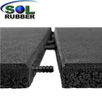 Self Connect Outdoor Rubber Flooring Tiles With Holes For Playgrounds