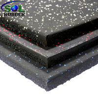 1mx1mx15mm Commercial Gym Rubber Fitness Flooring Tiles